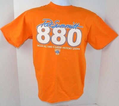 - Tennessee Lady Vols PAT SUMMITT 880 All-Time Victory Leader Orange T-Shirt S New