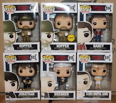 Funko Pop Stranger Things Series 2 Hopper   Chase Eleven Nancy Jonathan Set
