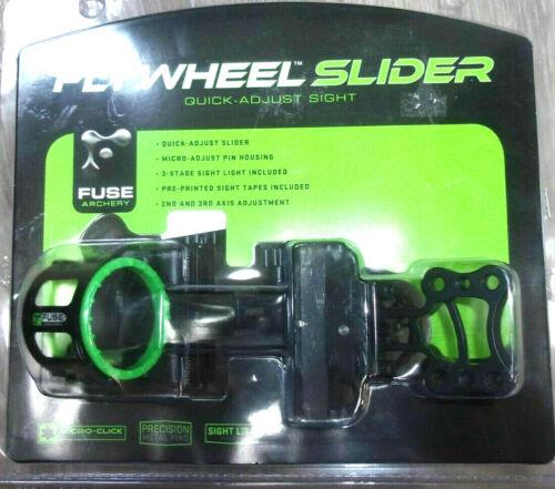 NEW Fuse Flywheel slider Bow Sight- Black- Single Pin 1-Pin Adjustable Hoyt PSE