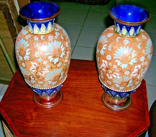 "A Beautiful Pair of Ca. 1900 Royal Doulton Slaters Patent 12"" Vases"