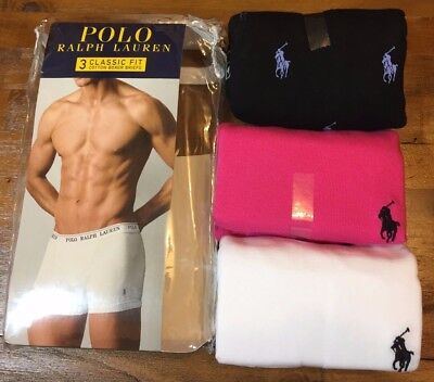 POLO RALPH LAUREN Boxer Briefs - Men's L (36-38) NEW 3 Pack (Pink, Navy, White)