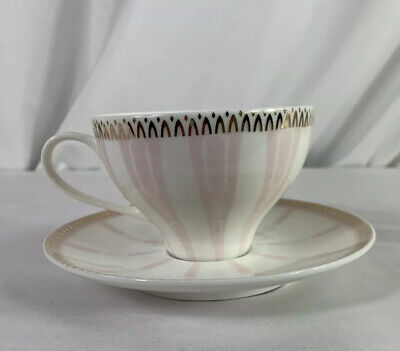 MERITAGE Pink AND WHITE STRIPED TEACUP AND SAUCER -