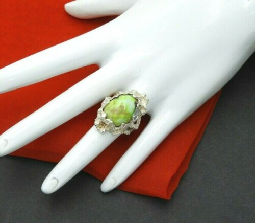 Vintage Ring Turquoise Handcrafted Modernist Jewelry Solid 925 Sterling Silver
