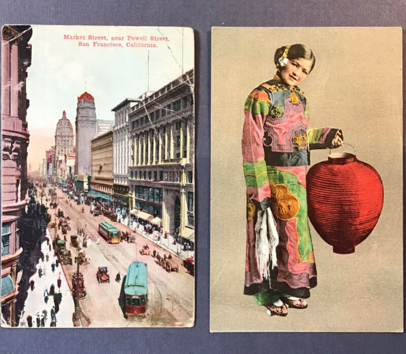 2 PANAMA PACIFIC EXPO 1915 PC CHINESE GIRL & MARKET ST near POWELL SAN FRANCISCO
