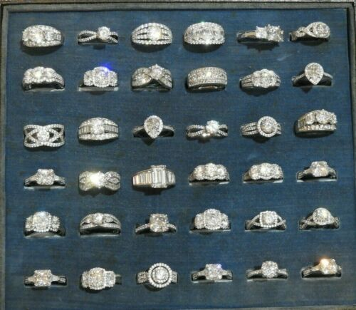 Group of Thirty-Six (36) Brand New Sterling Silver & CZ Rings Size 8 Wholesale