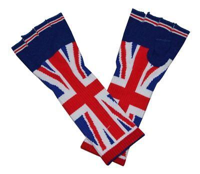 Sw UK Flagge Union Jack Stulpen Lang Fingerlose Handschuhe Blau Rot Weiß ()