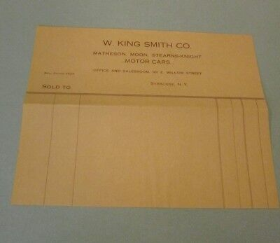 1910 Era W  King Smith Co  Motor Cars Billhead Matheson Moon Stearns Knight