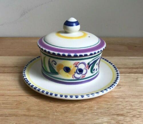 CARTER STABLER ADAMS POOLE POTTERY YO Pattern Butter Dish - England - EUC
