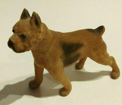Vintage Velvet Covered Plastic Brown Boxer Dog Figurine