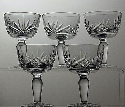 CUT GLASS LEAD CRYSTAL SHERRY PORT GLASSES SET OF 5