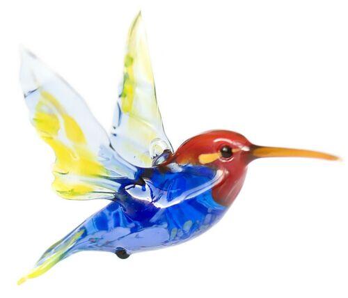 "Hummingbird Blue Red, Figurine, Blown Glass ""Murano"" Art Ornament Made in Russia"