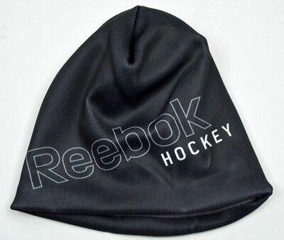 Reebok Hockey Sublimated Logo Black Knit Fleece Lined Winter Hat Beanie Toque