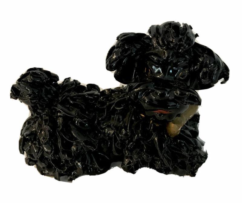 "Nice Vintage Black Spaghetti Porcelain Poodle Puppy Dog w/ Bow Tie Figurine 4"""