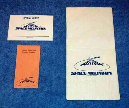1977 DISNEYLAND SPACE MOUNTAIN GRAND OPENING SPECIAL GUEST BADGE & SUPPER TICKET