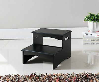 كنبة جديد Kings Brand Furniture Black Finish Wood Bedroom Step Stool  ~New~
