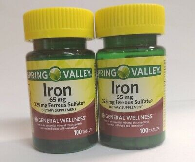 Spring Valley Iron 65 mg Ferrous Sulfate 325 mg, Twin Pack, 200 Tablets Sulfate 200 Tablets