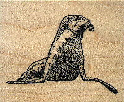 "mounted rubber stamp   Sea Lion Large size  wood mount 2 1/4"" X 3"""