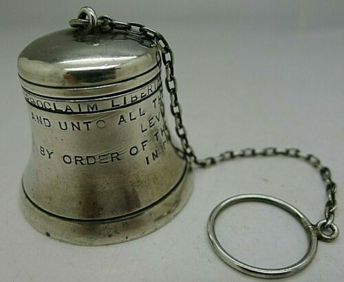 RARE WEBSTER STERLING SILVER TEA STRAINER IN THE SHAPE OF LIBERTY BELL PHILLY