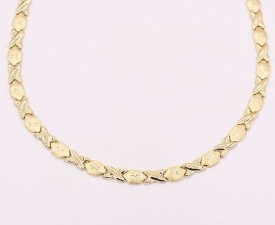 Diamond Cut Hugs and Kisses Stampato Necklace Real 10K All Yellow Gold XOXO 17""