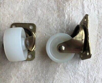 Set Of 2 Vintage Swivel Casters 1 14 Brass Wheels Castor White Nylon Roller