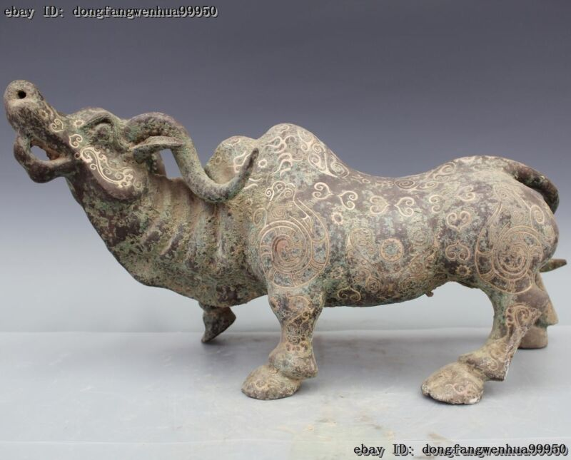 Chinese Dynasty Bronze Silver-Gilt Feng Shui Bull Cattle Ox Cow Statue Sculpture
