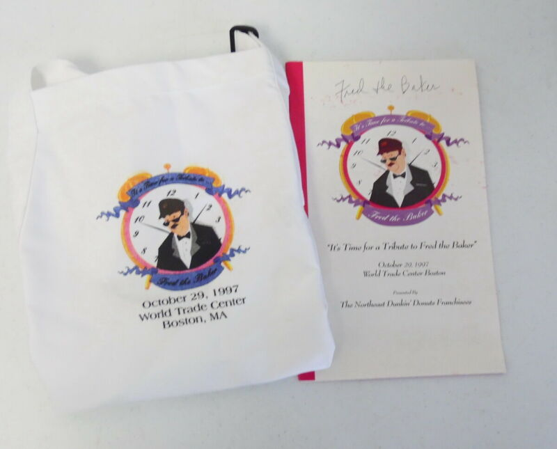 Dunkin Time to Make the Donuts Fred the Baker Signed Retirement Program & Apron