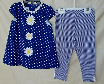 LITTLE ME STRETCH  2 pc DAISY Navy DRESS w/Navy Legging Set SIZE 24 MONTHS NWT