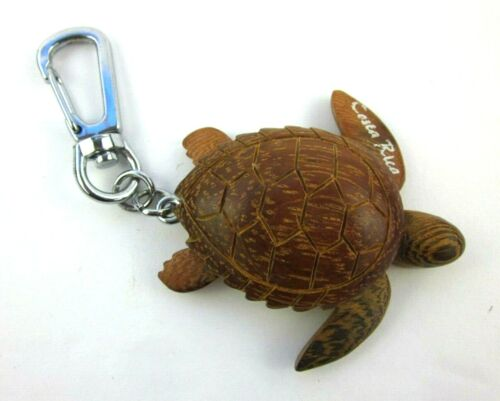 Costa Rica Carved Wood Turtle Keychain