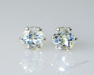 Sparkling!! 4mm Genuine Clear / White Topaz Round Sterling Silver Earrings