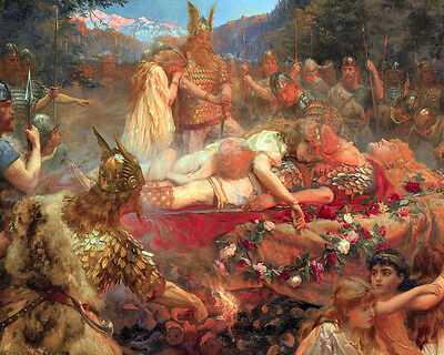 Funeral Of A Germanic Viking Warrior Painting 8x10 Real Canvas Fine Art Print (Viking Funeral)