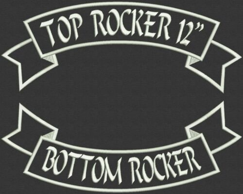 """Top and Bottom Rockers Embroidery, Tag, Patch, Badge  Iron On or Sew On - 12"""""""