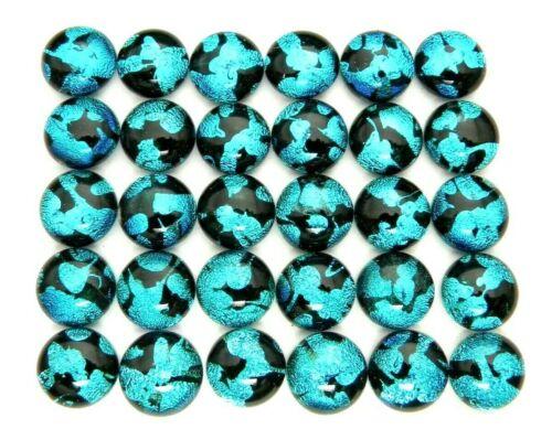 Lot 30 pcs round gorgeous DICHROIC earrings bracelet FUSED GLASS (C4) CABOCHON
