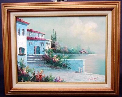 "Signed "" C. LOFT "" Oil Painting Beautiful Mediterranean Coastal Scene Framed"