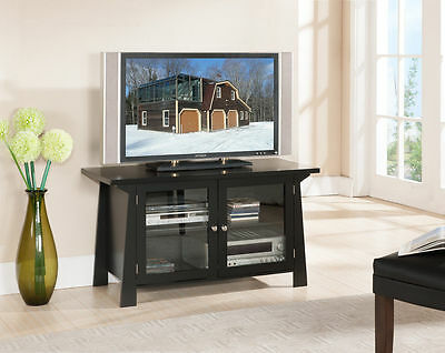 مكتبة تلفزيون جديد Kings Brand Black Finish Wood TV Stand Entertainment Center With 2 Glass Doors