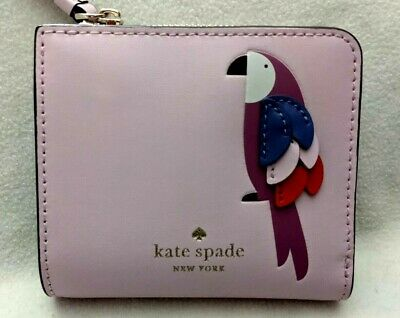 Kate Spade Flock Party Parrot Small L-Zip Bifold Leather Wallet Pale Pink