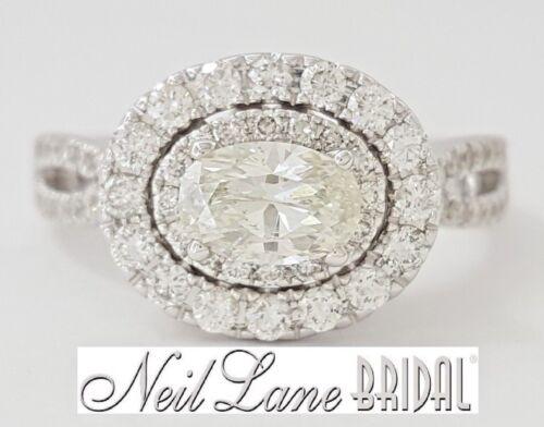 Neil Lane Bridal 1.5 Ct 14k White Gold Oval Diamond Double Halo Engagement Ring