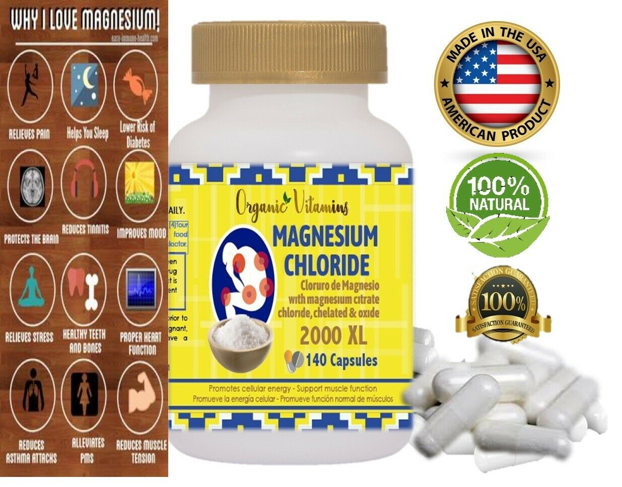 Citrato de Magnesio - 140 capsulas Pastillas de Citrato de Magnesio 2000  4