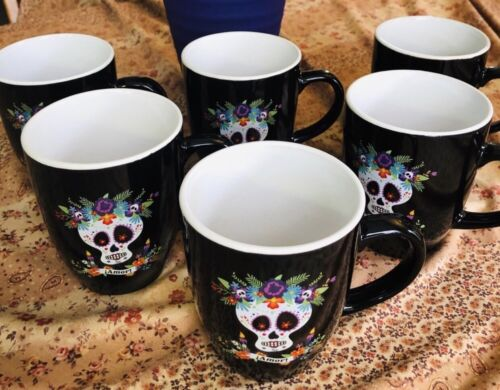 Day Of The Dead Halloween Black Coffee Mugs Set Of 6