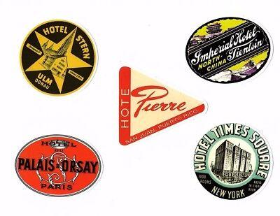 Aufkleber Sticker Set 5St Vintage Reise Travel Hotel Koffer Laptop Vinyl Set 2