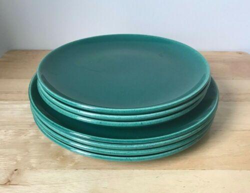 METLOX POPPYTRAIL MODERN GREEN 4 Luncheon Plates + 3 Salad Plates - VGUC