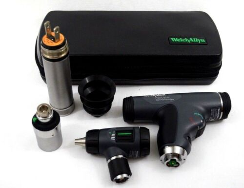 WELCH ALLYN 3.5v DIAGNOSTIC SET PANOPTIC OPHTHALMOSCOPE MACROVIEW OTOSCOPE CASE