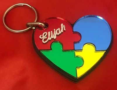 Autism Puzzle Heart Key Chain Custom Name Engraved Name Key Ring Personalized - Custom Engraved Keychains