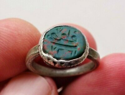 Vintage Old Medival Silver Ring With Natural Ancient Agate Stone