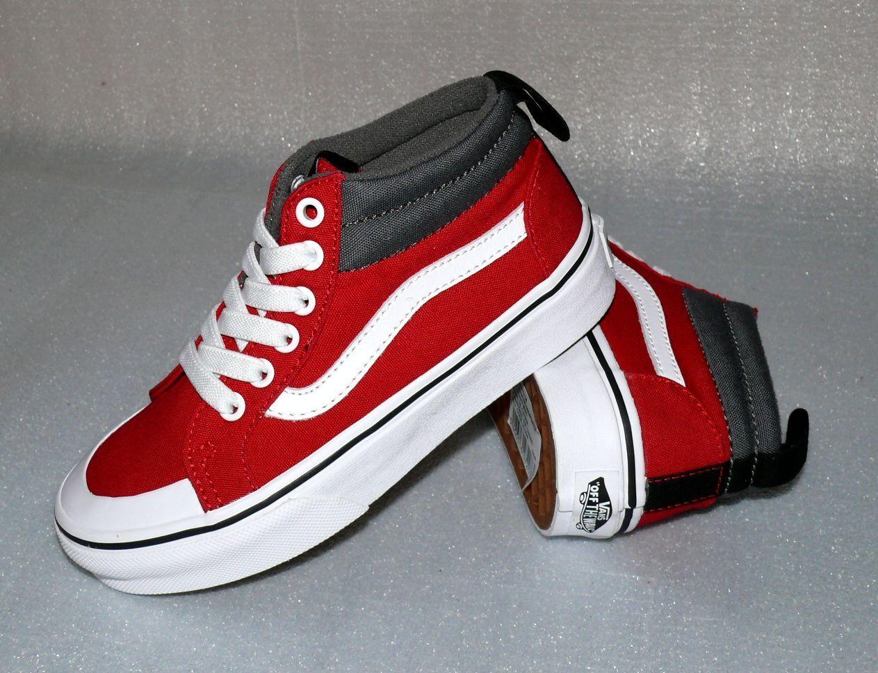 Vans Racer MID K'S Canvas Kinder Schuhe Sneaker EU 31 UK13 Racing Red White Pewt