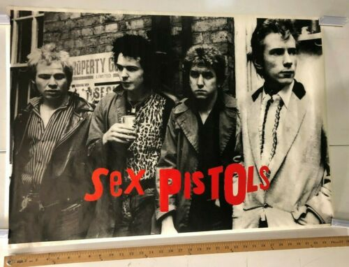 VINTAGE MUSIC POSTER The Sex Pistols Black And White Group Photo Red Logo