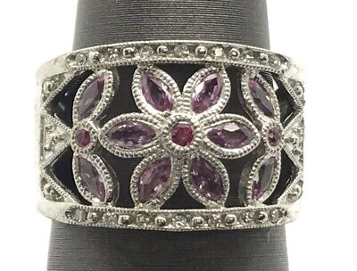 Diamond Accent Floral Ring (Sterling Silver Elegant Pink Sapphire - Diamond Accent Floral Wide Cocktail)