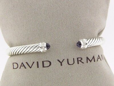 DAVID YURMAN 5MM  CABLE CLASSICS BRACELET AMETHYST AND DIAMOND NEW