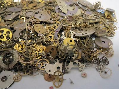 5g Lot Vintage Steampunk Watch Parts 65+ Pieces Gears Hands Rubies Cogs Wheels