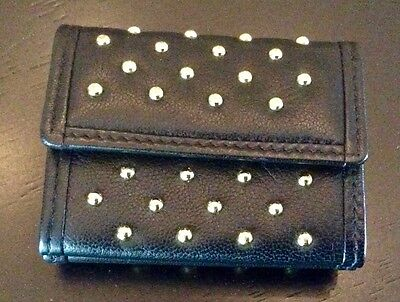(Mini Black Leather Studded Wallet Coin Made in SPAIN - MINT)
