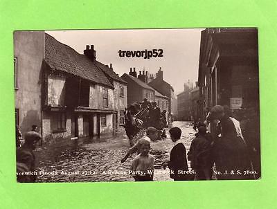Westwick Street Norwich Floods Flooding 1912 Rescue Party RP pc J & S Ref B79